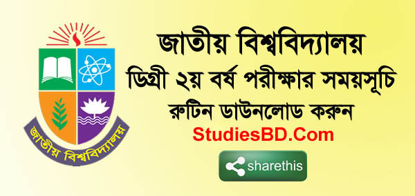 Degree 2nd Year Exam Routine 2019 National University, NU Degree Second Year Exam Routine, Schedule, Timetable, NU Routine Download, nu.ac.bd 2nd routine.