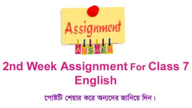 Class 7 English 2nd Week Assignment Answer