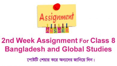 Class 8 Bangladesh and Global Studies 2nd Week Assignment Answer